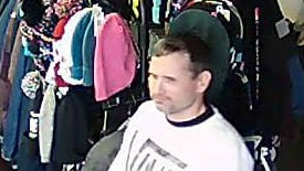 Paul Jones, owner of Let It Ride Board Shop in north Spokane says this man stole numerous items from his store. If you know who he is, call Crime Check at 456-2233.