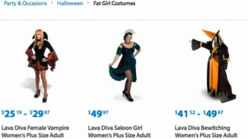 A screen shot of Wal-Mart's webpage showing the Fat Girl Costumes section before it was changed Monday.