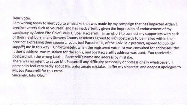 "John Olson's statement after an ""honest mistake"" caused voter confusion."