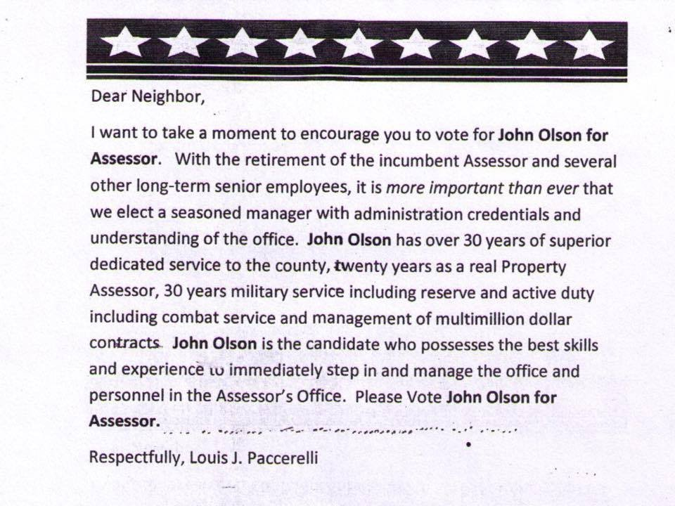 A copy of John Olson's original mailer