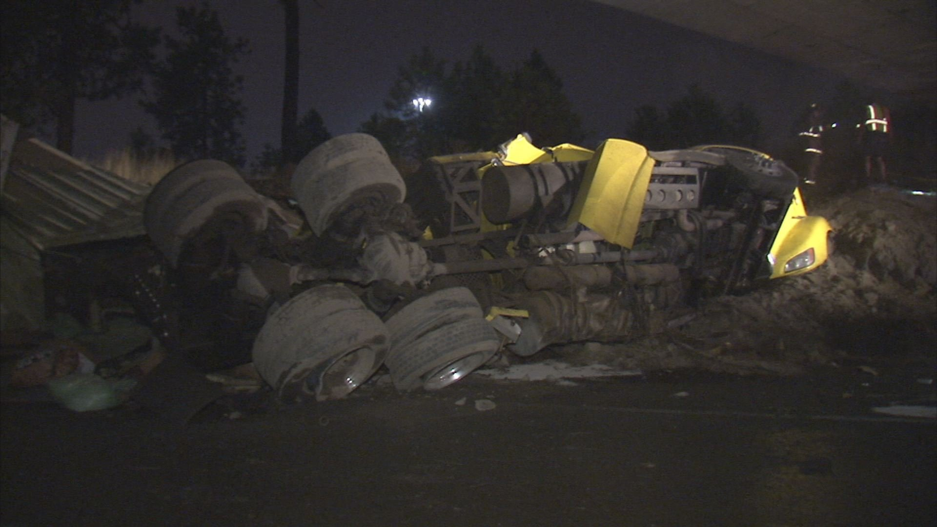 The driver of this semi-truck was not injured in this rollover crash