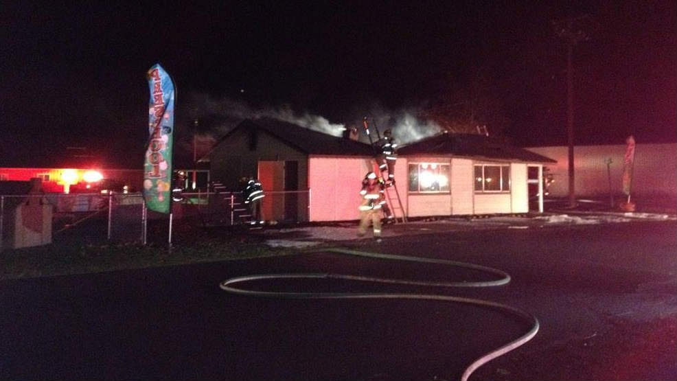 Firefighters in Deer Park fighting a fire at Westside Pizza early Thursday morning