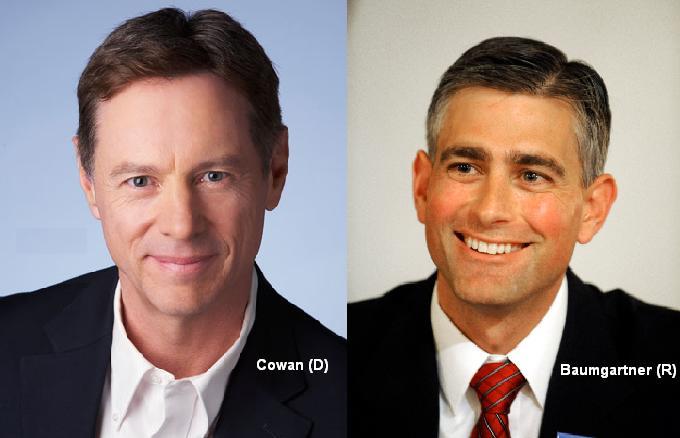 Rich Cowan (D) facing off against incumbent State Senator Michael Baumgartner (R) for the 6th Legislative District