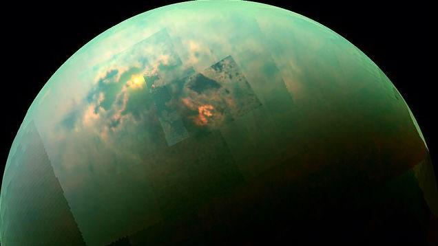Photo released by NASA of sun glinting off of polar sea on Titan, one of Saturn's many moons (PHOTO Courtesy: NASA/JPL-Caltech/University of Arizona/University of Idaho)