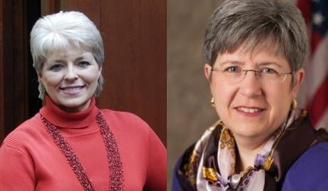 Real estate agent Arlene Lindstran (Left) is facing off against the current Spokane County Auditor, Vicky Dalton (Right)