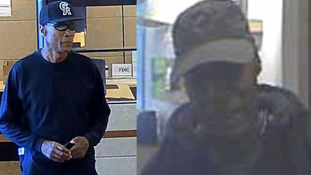 The man the FBI dubbed The Roscoe Bandit seen in a robbery on July 29th in Seattle (left) and in Spokane on Nov. 7th (Right)
