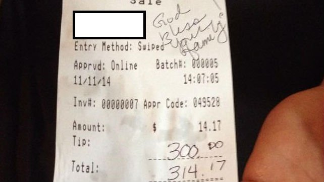"""Strangers left a $300 tip with a note that reads """"God bless your family!"""""""