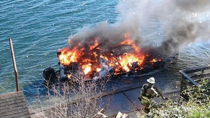 One person is hurt after a boat explosion in Mason County (Photo courtesy of Mason County Sheriff's Office)