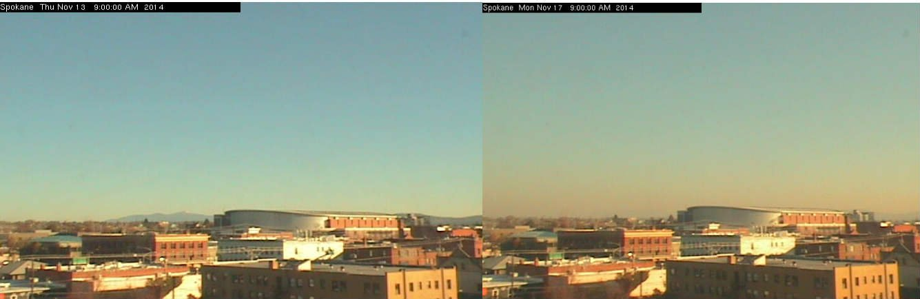A side-by-side comparison from the Spokane Regional Clean Air Agency, taken at the same time, four days apart.