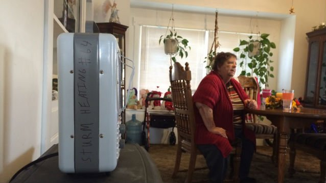 Beverly Green at home with free portable heaters.