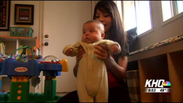Rosa Branton and her 4 month old son, Cayden, moved into GraceSon House last week on her 18th birthday.