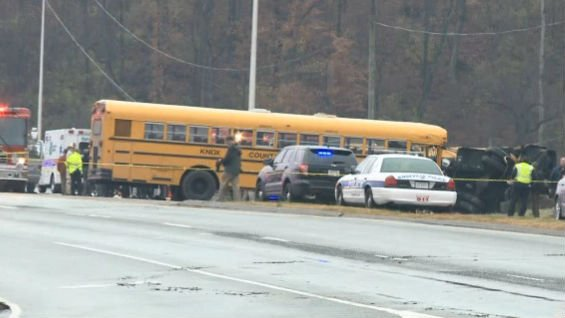 Two buses carrying children home from an intermediate and a primary school collided on a Tennessee highway, killing two children and an adult. Photo: NBC