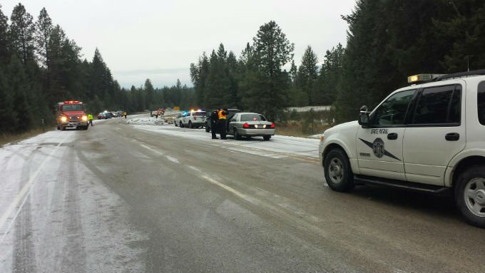 The scene from Stevens County at a fatal crash involving a tanker truck and SUV on Highway 395 near Jump Off Joe Road