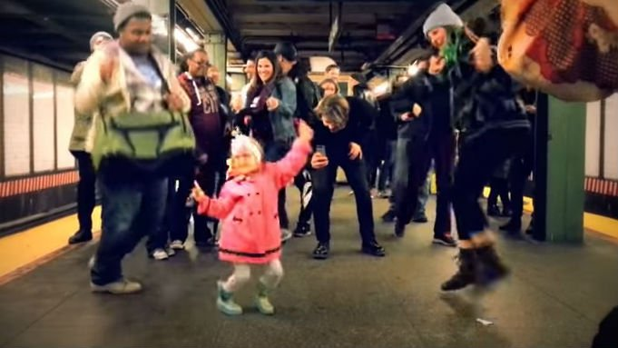 New Yorkers feeling the groove on a subway platform. Photo: YouTube