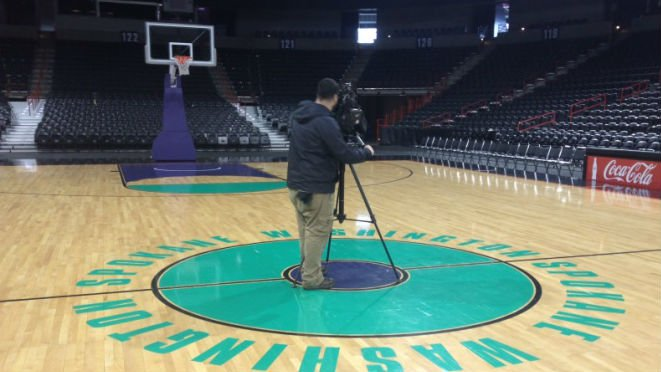 The Spokane Arena is preparing for a big basketball game Wednesday night, right in the middle of hockey season.