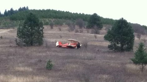 The pilot of this down plane walked away from the rough landing unscathed, just a little embarrassed.