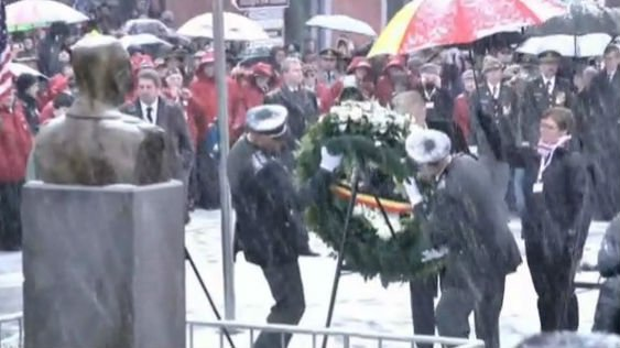 Braving snowy weather, Americans and Belgians gathered in the Ardennes region of Belgium on Saturday to mark the 70th anniversary of one of the biggest and bloodiest U.S. battles of World War II Photo: NBC