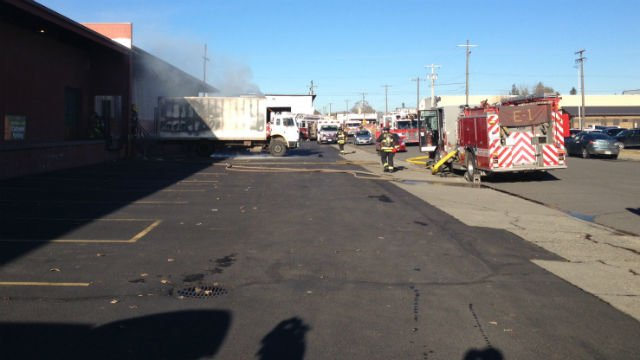 A fire broke out inside of a delivery truck near Trent and Columbus Monday afternoon