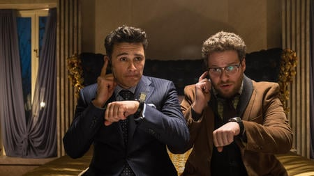 "James Franco, left, and Seth Rogen star in Sony Pictures Entertainment's ""The Interview."""