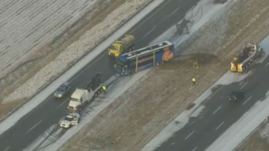 A double-decker bus crashed Saturday morning on Interstate 65 in Indiana. Photo: NBC