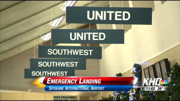 Emergency landing at Spokane Airport