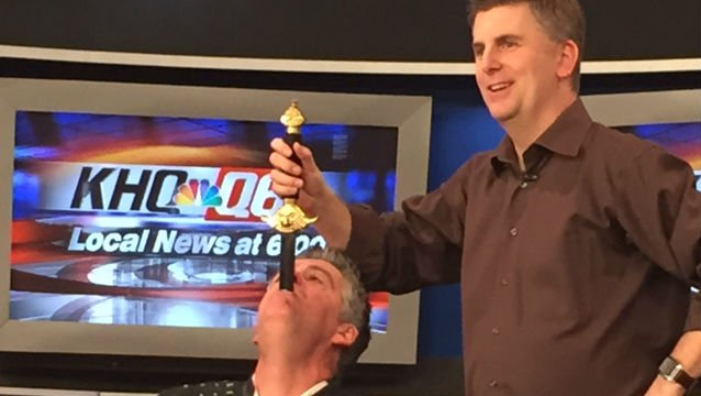 Brad Byers trusts KHQ's Matt Rogers to pull a sword out of his mouth.