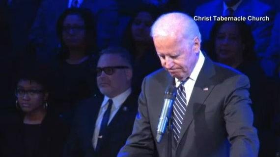 Vice President Joe Biden speaks at Rafael Ramos' funeral. Photo: NBC