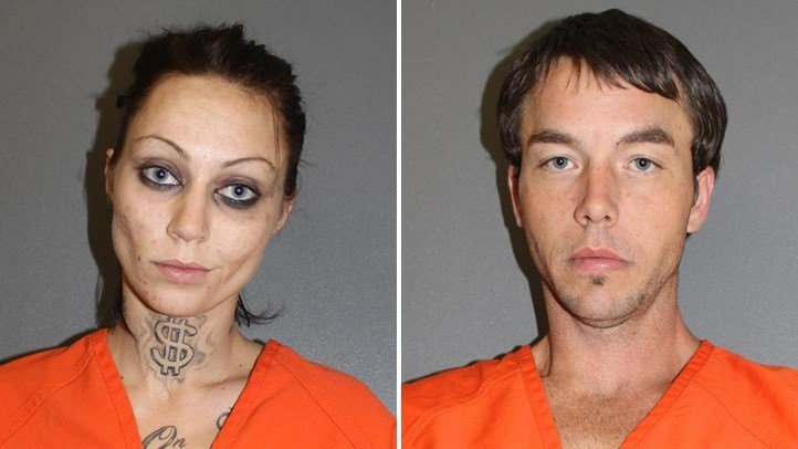 "Amber Campbell (left) and John Arwood (right) were found ""trapped"" in a college closet. (PHOTO: Volusia County Corrections)"