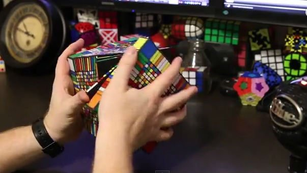 Solving a world record sized Rubik's Cube. Photo: YouTube/RedKB