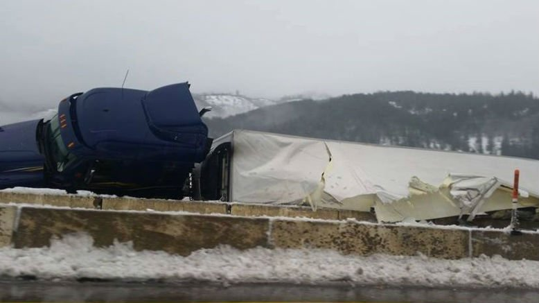 A semi truck lost control and crashed on I-90 Monday morning.