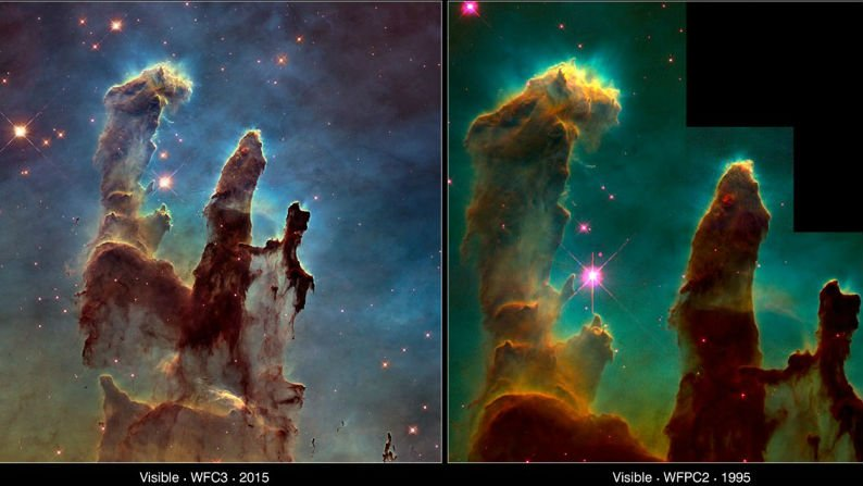 The Pillars of Creation then and now. Photos:WFC3: NASA, ESA/Hubble and the Hubble Heritage Team//