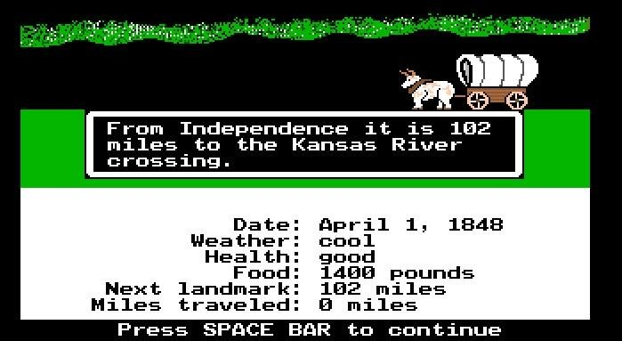 The 1990 MS-DOS version of Oregon Trail (Internet Archive)