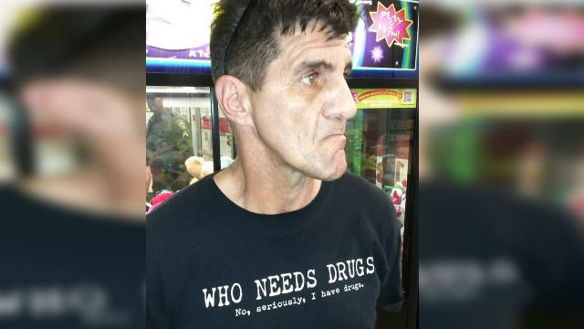 """""""Who Needs Drugs. No, Seriously, I have drugs."""" John Balmer's shirt spoke volumes as he was getting arrested in a Florida Kmart recently. He was found to be in possession of meth."""