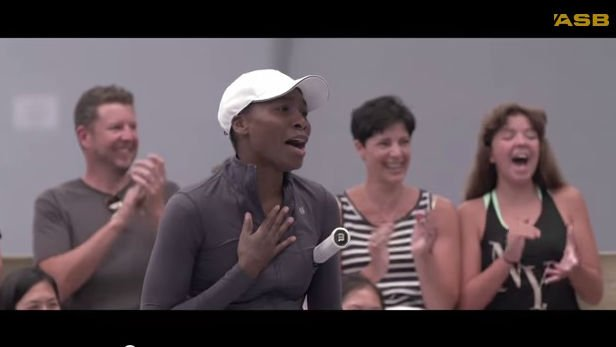 Venus Williams reacts to the dog ball boys. Photo: YouTube
