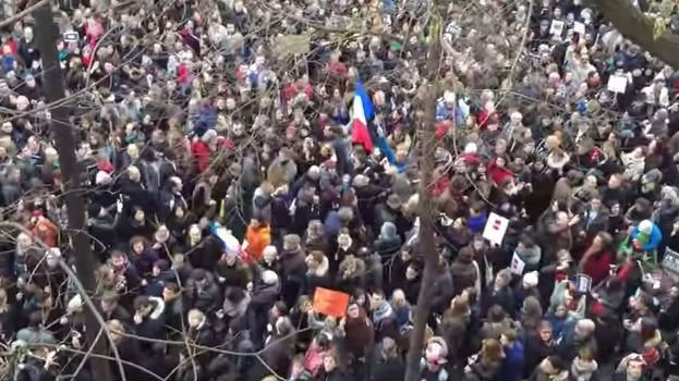 Crowds during yesterday's unity rally in Paris. Photo: YouTube/Lam Hua