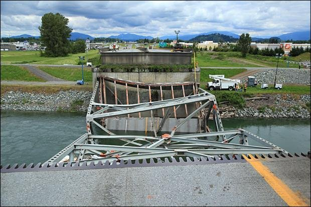 The Skagit River Bridge collapsed on May 23, 2013 after a truck carrying an oversized load clipped 11 of the sway braces.