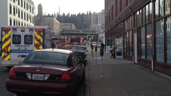 The scene from 2nd and Wall at the Collins Apartments in downtown Spokane Wednesday afternoon