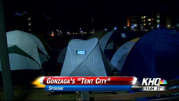 "Dozens of college students are in the cold camping outside the McCarthey Athletic Center at Gonzaga University in what they call ""tent city"""