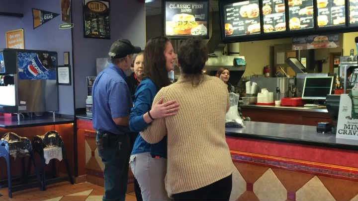 Arby's coworkers embrace on day of emotional reopening. 3 of them spoke at Belinda Niebuhr's funeral.