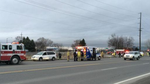 The scene of auto vs. pedestrian crash in Airway Heights.
