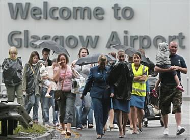 Passengers evacuating Glasgow Airport