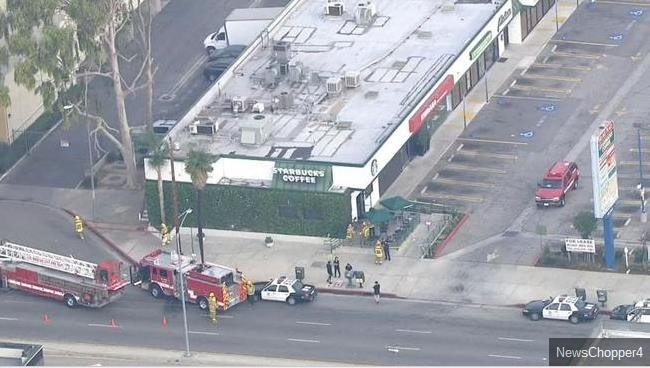 """One person was hurt with """"extensive burns"""" while at a Southern California Starbucks on Tuesday, Feb. 17, 2015, officials said."""