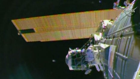 Two space station astronauts are on a spacewalk. Photo: NBC/NASA