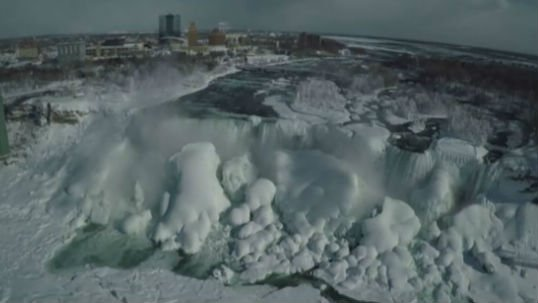 A drone view of the partially frozen Niagra Falls. Photo: NBC