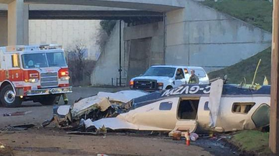The scene of a small plane crash in Spokane