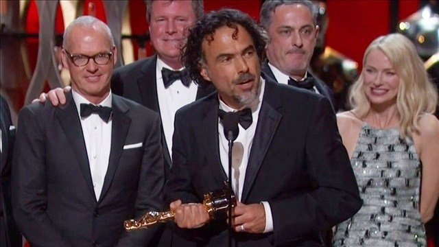 The cast of Birdman during their acceptance speech for Best Picture