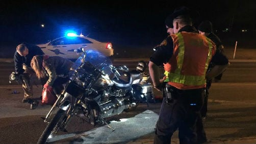 One man is in the hospital following a motorcycle crash.