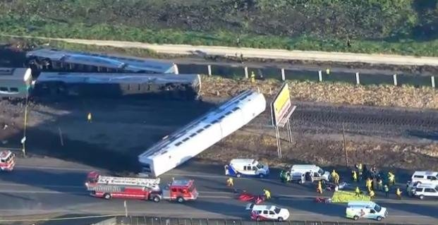 At least 30 people were hurt during a train crash in California Tuesday morning