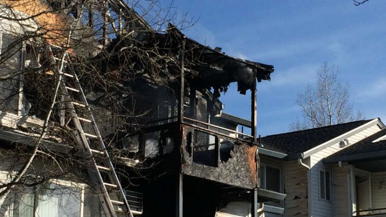 What's left after an apartment fire in Spokane Valley on Wednesday