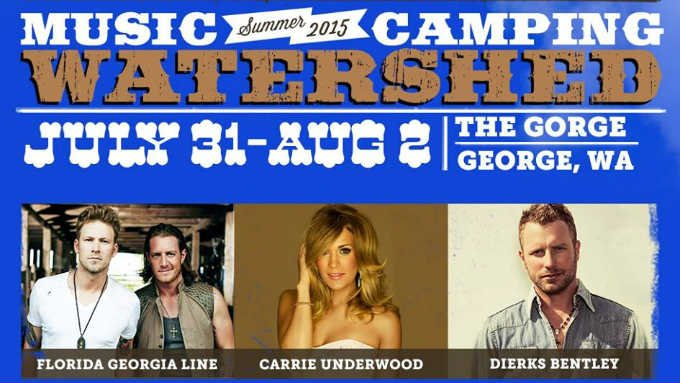 Florida Georgia Line, Carrie Underwood, and Dierks Bentley are headlining the 2015 Watershed Music Festival (PHOTO: Watershed Music Festival/Facebook)
